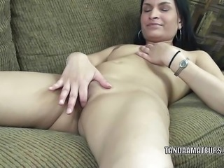 """Indian brunette milf Naomi Shah fingers her pussy."""