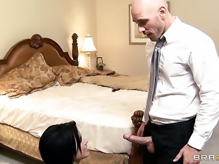 Eva Angelina gets her muff stuffed full of cock in steamy action with Johnny Sins