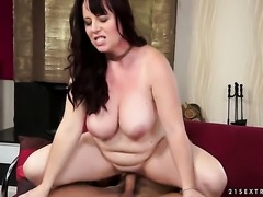 Brunette with gigantic melons shows her snatch to lucky stud before he fucks...