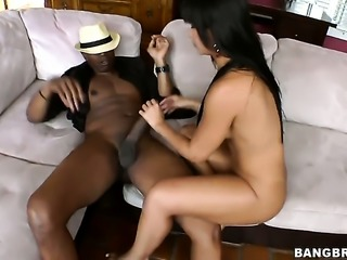 Latin Rose with big booty and bald beaver holds her mouth wide open while...