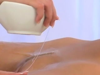 Foxy lesbian babe getting an oily full body massage