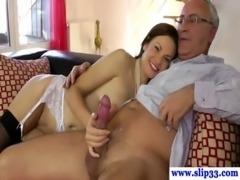 Classy british babe makes old man cum free