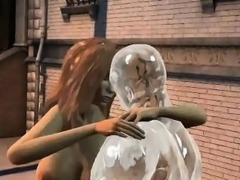 Tasty 3D babe fucked by a man made of ice outdoors