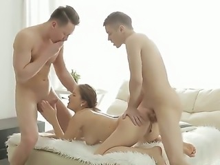 Young Adelle gets doubled by two hot guys with thick dicks. She will have to have two of her holes filled up throughout the whole time, otherwise whats the point