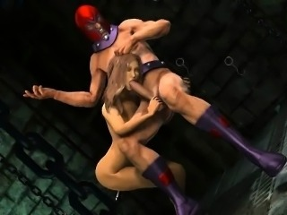 3D cartoon babe gets toyed and fucked by Magneto