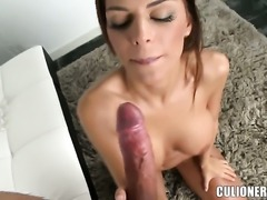 Black Angelika with phat bottom takes money shot on her nice face