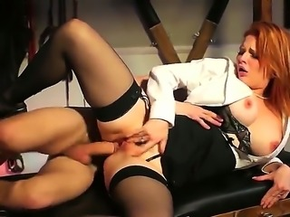 Red-haired mom Tarra White in sexy black stockings makes her dirty sex...