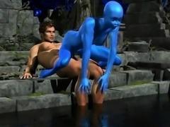 Human Fucking 3D Blue Alien Girl!