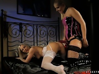 Blonde Emma is on the way to the height of pleasure with Brandy Smiles tongue in her love hole