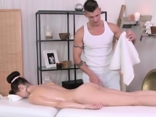 Petite euro model and her naked massage fun