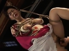 Hot tied up Asian lady with big boobs teased by her partner