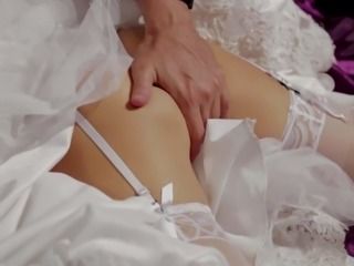 Blond-haired bride Jessica Drake looks great in white. This charming milfy woman is cock hungry. She gives sensual blowjob to older guy. Nothing can stop Jessica Drake from cock sucking!