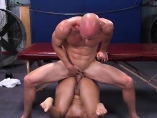 Naked sports massage for a busty beauty