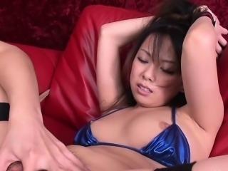 Hairy pussy bikini babe cums so hard