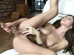 Alice Romain with juicy melons and smooth snatch taking dildo in her snatch