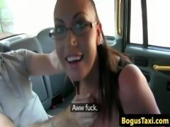 Hugetitted english slut sucks taxi driver off free