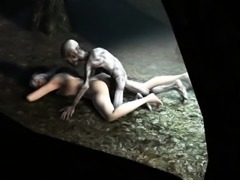 3D babe getting fucked hard in the woods by Gollum