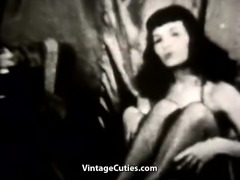 Brunette Bombshell Dances Seductively for Men (Vintage)