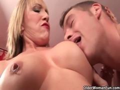 Hot grandma Luna Azul loves cum on her face free