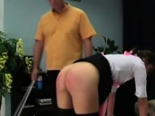 Chick in stockings gets spanked