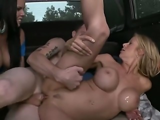 Passionate big racked pornstars Diamond Kitty and Alexis Fawx show their love for hard cock as they share amateur guys love stick on Bang Bus. Busty bombshells make him cum with ease.