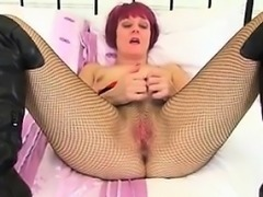 Date her on MILF-MEET.COM - Masturbating in fishnet tights i