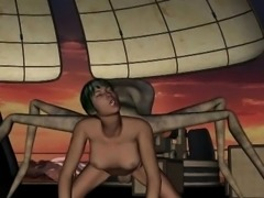 3D babe getting fucked hard by a horny alien spider