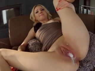 Filthy blonde Betty takes on two cocks