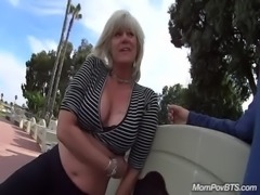 MILF fucks in public bathroom stall free