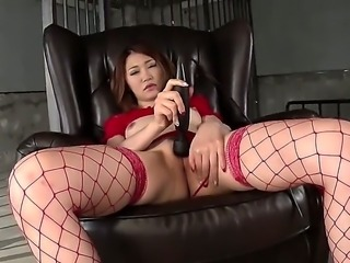 Japanese adult model Airi Mizusawa in red lingerie stimulates her asian bushy pussy with black Hitachi vibrator without taking off her thong. Watch Airi Mizusawa masturbate with legs wide open.