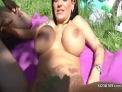 German Monster Tit MILF get fucked outdoor by two young boys free