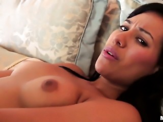 Latina solo girl has a thin dildo