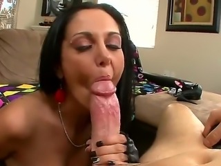 Lovely dark haired MILF Ava Addams with big boobs and nice bald pussy gives suck job and gets her perfect big knockers banged from  your point of view before she takes fat dick in her many times used ass.