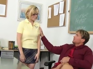Schoolgirl In Glasses Blows Professor Off