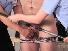 Uniformed mistresses trampling sissys cock