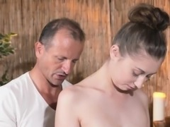 Hirsute brunette banged by masseur till cumshot