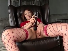 Japanese adult model Airi Mizusawa in red lingerie stimulates her asian bushy...