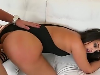 Latina babe with a big ass is wearing a bikini and she bends over and gets on her knees to get her tight and moist twat pulverized real hard by this pulsating white cock