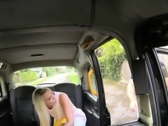 Blonde anal fucked in cab in public