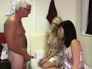 Older guy gets handjob from young British CFNM girls