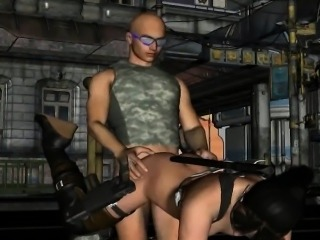Sexy 3D cartoon brunette getting fucked outdoors