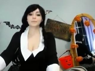Hot Wednesday Adams Cosplay On Webcam