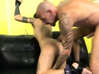 Tied Up Brunette Rough Face Fucking And Anal On Sofa