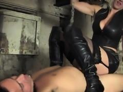 Stunning bdsm femdom trampling sub in dungeon