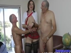Stockings milf in threeway facialized free