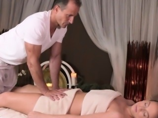 Cocksucking massage client and an old masseur