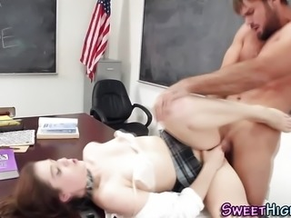 """InnocentHigh - Pigtailed Detention Slut Gets Deep"""