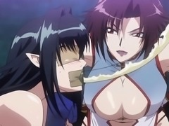 Tied up hentai babe gets pussy and ass toyed rough