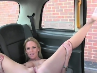 Cheating blonde gets anal in a cab in public