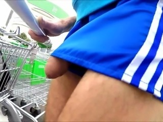 146 ADIDAS NYLON SHORTS COCK OUT IN SUPERMARKET